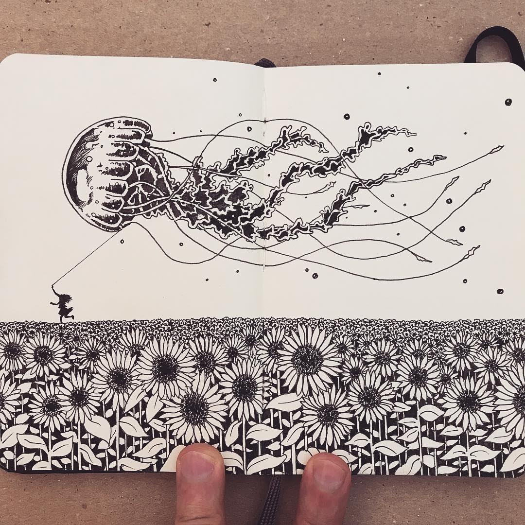 08-Dreams-and-imagination-Francisco-Del-Carpio-Moleskine-Black-and-White-Ink-Drawings-www-designstack-co