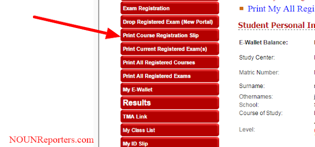 How to Print Noun Course Registration Slip