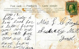 postcard back image antique script handwritten digital clipart