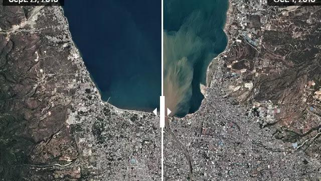 Bukti Kedahsyatan Gempa dan Tsunami Kota Palu! Begini Kondisinya Dilihat dari Satelit