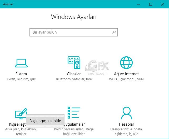 windows ayarları başlangıca sabitle