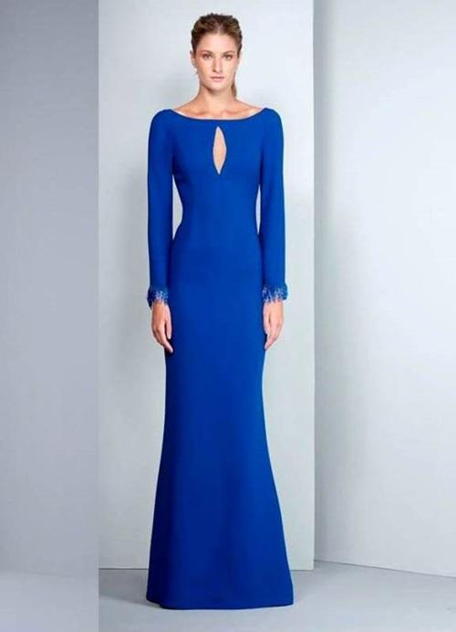 vestido de festa azul manga comprida
