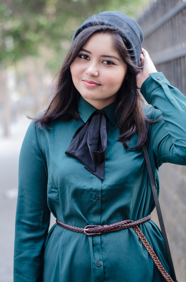 Emerald green pussybow blouse with beanie