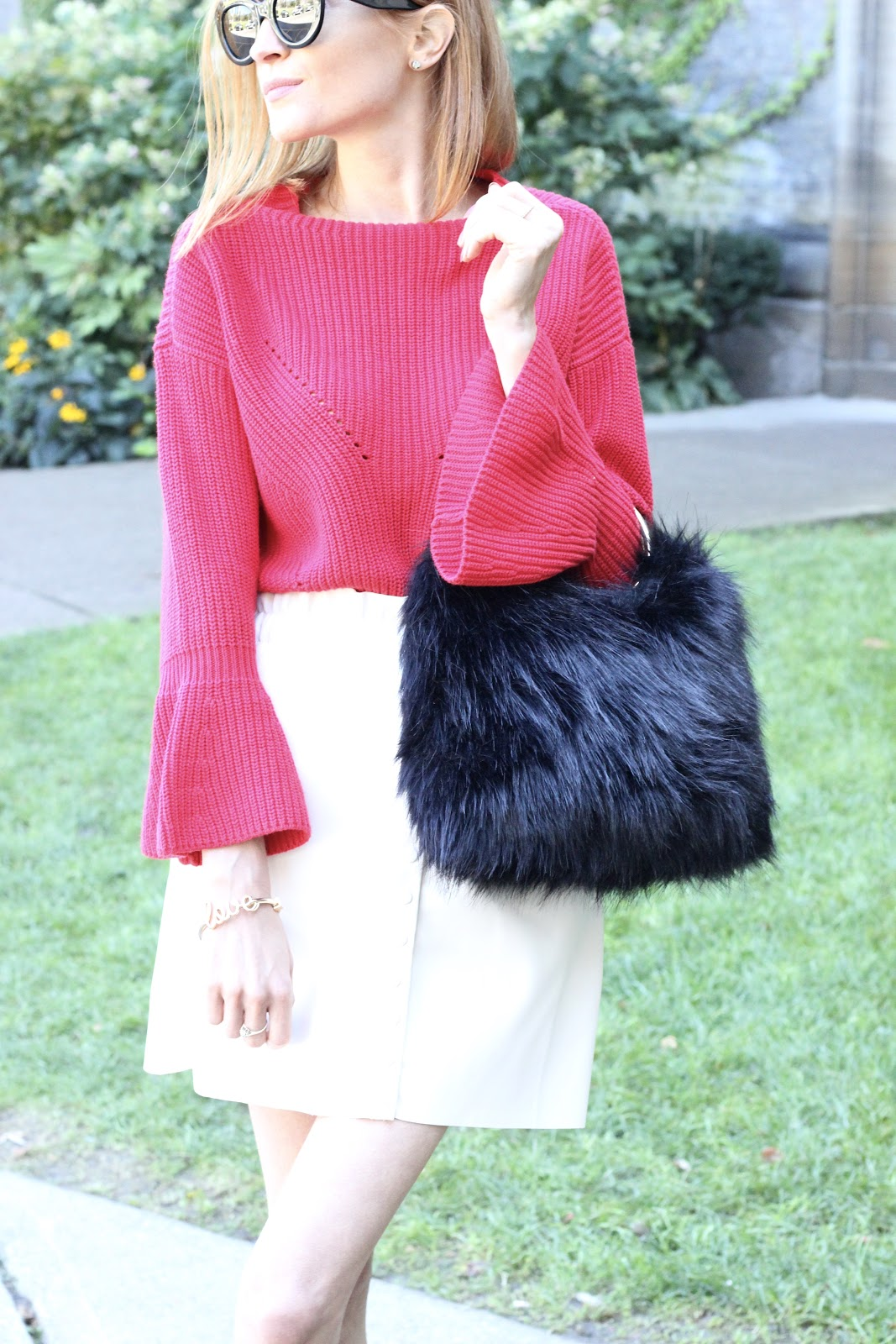Red for Fall- LOFT red sweater, Zara white leather mini skirt, Zara leather booties , Target faux fur purse, Celine sunglasses