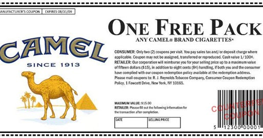 Printable Cigarette Coupons 2015 - Free Camel, Marlboro, USA
