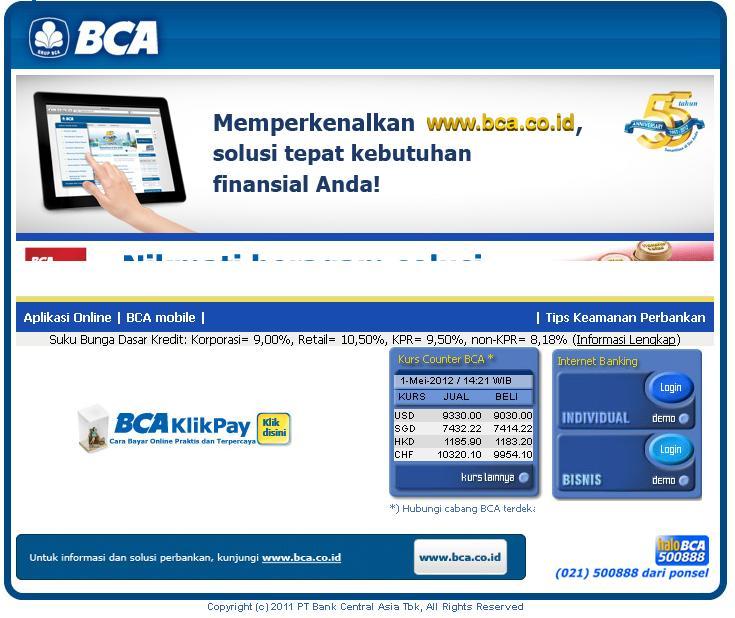 KlikBCA Individual Login | Indonesia 2014