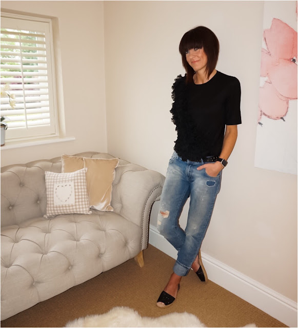 My Midlife Fashion, Finery London Charteris Woven Ruffle Front t Shirt, zara distressed boyfriend jeans, the womens society boutique sequin espadrilles