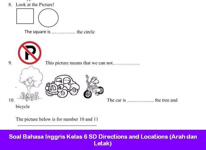 Soal Bahasa Inggris Kelas 6 Sd Directions And Locations Arah Dan Letak Soal Bahasa Inggris