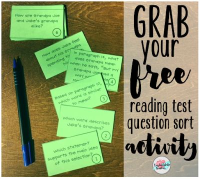 "Teach your students to ""think through"" reading test questions with this FREE question sort activity. 3rd, 4th, 5th, 6th, 7th, and 8th grade students will benefit from sorting their reading test questions and making generalizations about the types of questions they will see on their end of grade state test for reading. Don't miss your freebies!"