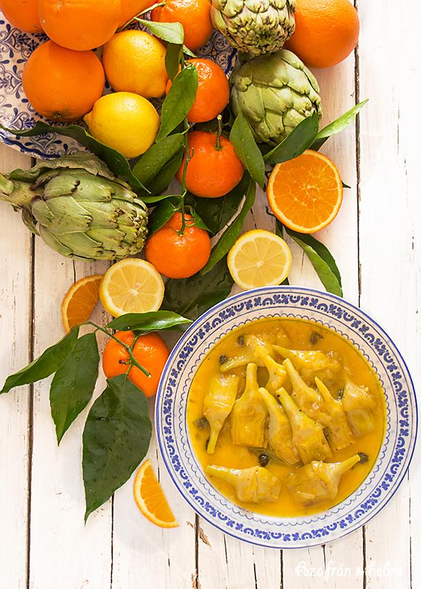 Alcachofas con salsa de cítricos