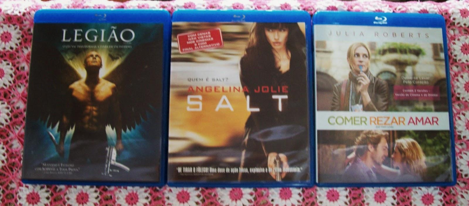 Blu-ray disc Filmes: Legião, Salt e Comer Rezar amar