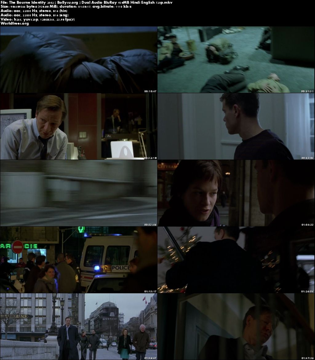 The Bourne Identity 2002 BluRay 400MB Hindi Dual Audio 480p Download