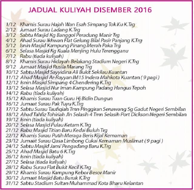 Jadual Kuliah Ustaz Azhar Idrus (UAI) Disember 2016
