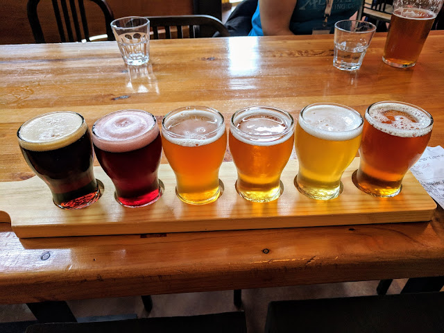 Craft Beer New Zealand: a paddle of beers at Eddyline brewery near Nelson