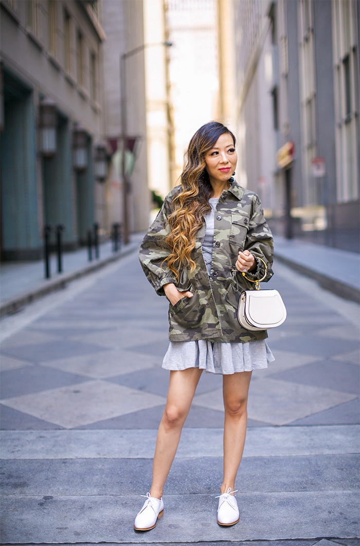 simply sophisticated summer, banana republic camo jacket, baublebar earrings, topshop lace up dress, chloe nile bag, everlane oxfords, fall style fall fashion, san francisco style blog, san francisco street style