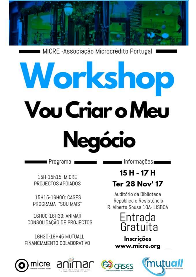 """Workshop gratuito """"Vou criar o meu negócio"""" – Lisboa"""
