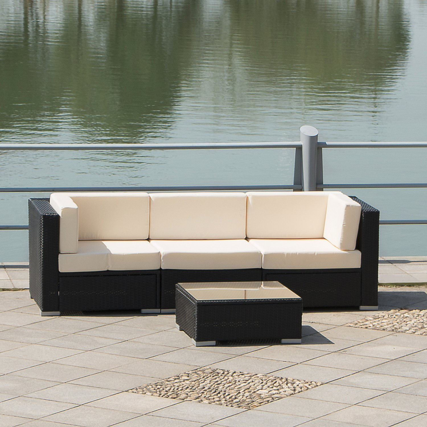 Beautiful Walcut Series Of Hawaii Beach 4PCS Patio Rattan High Quality Wicker Sofa  Couch With Table Furniture