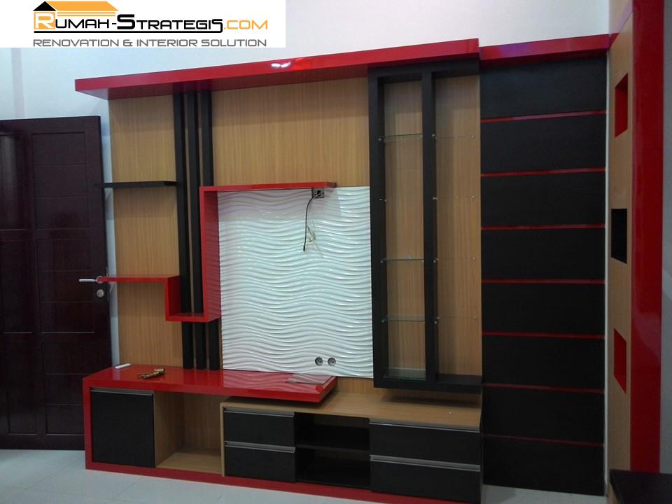 kombinasi warna merah hitam di kamar tidur utama
