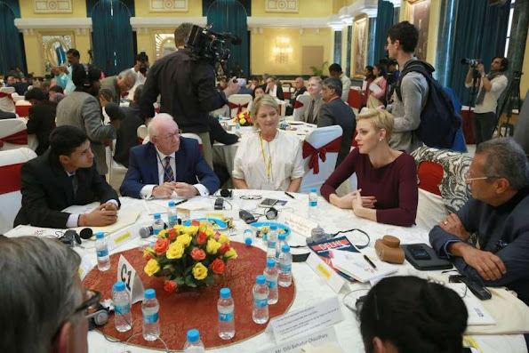 Princess Charlene and Princess Laurentien attended the Laureates and Leaders for Children Summit 2016 in New Delhi