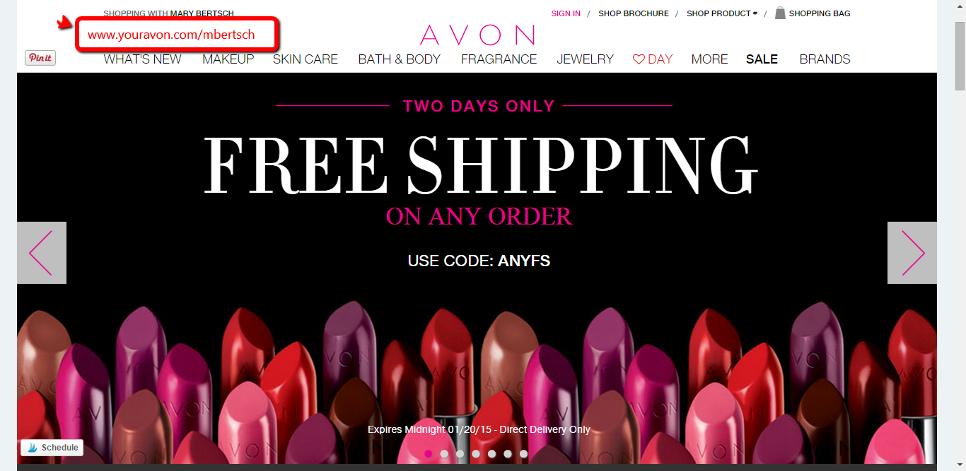 Avon free shipping any order - Promo code January 2015