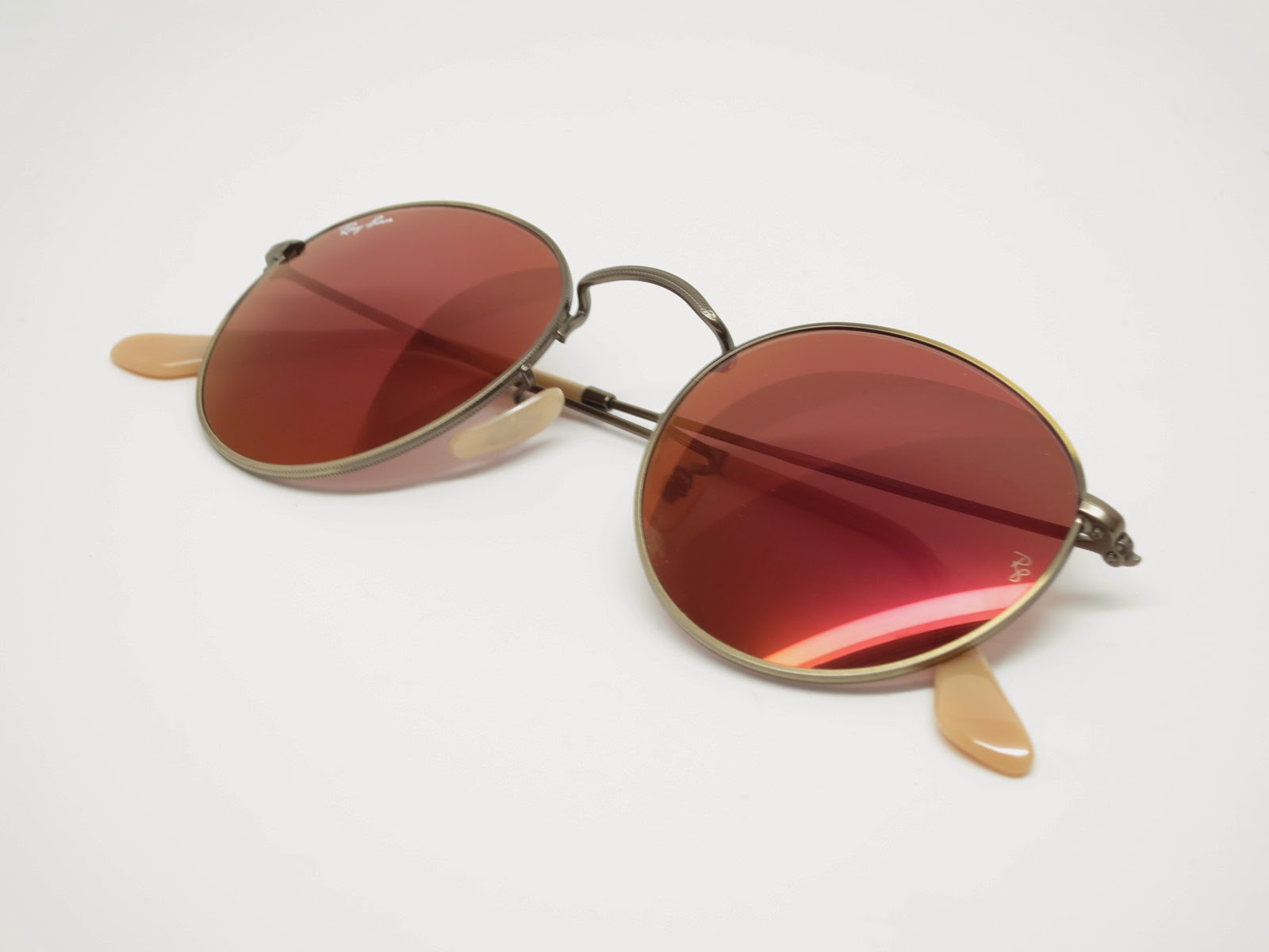 646bb01e49e066 Ray-Ban RB 3447 Round Metal 167 2K Red Mirrored Sunglasses   I Love ...
