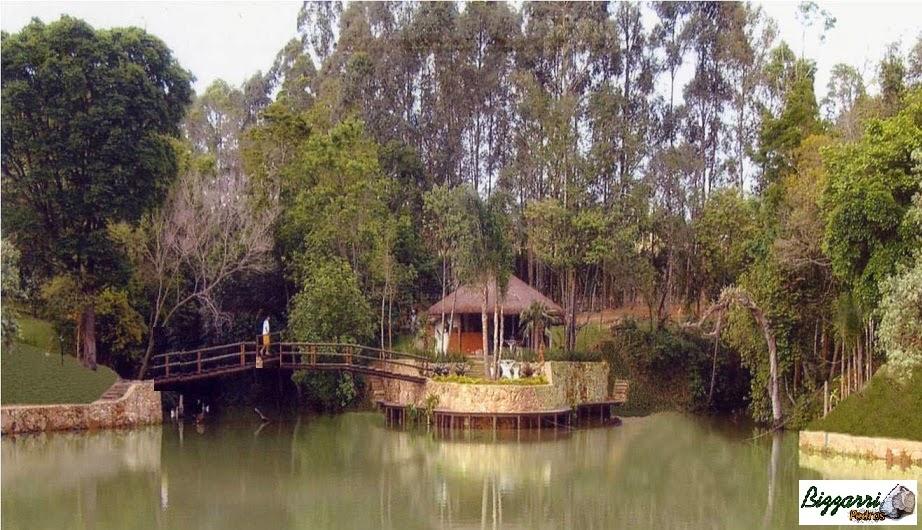Construção dos muros de pedra rústica, construção do lago com a construção da churrasqueira e o quiosque de piaçava com a ponte de madeira.