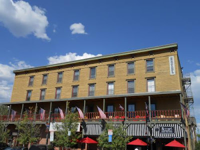 Building, historic truckee california, blue sky