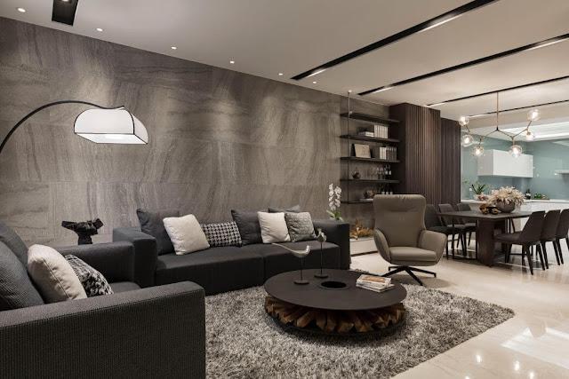 Современный интерьер квартиры в контрастах шоколадного венге и серого мрамора