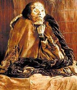 Foto de la momia de Huallamarca de un museo