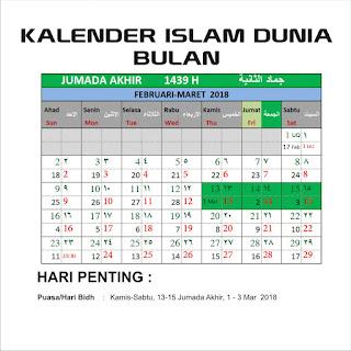 Kalender Islam Bersatu Bulan Jumada Akhir 1439 H