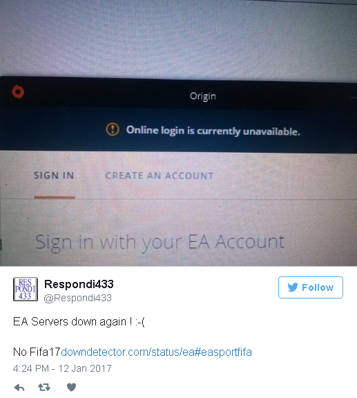 Users reporting Electronic Arts (EA) servers are doing - Top