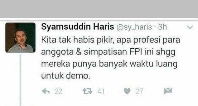 """Menjawab Kebingungan Syamsuddin Haris """"Apa Profesi FPI Mereka Punya Waktu Luang Untuk Demo"""""""