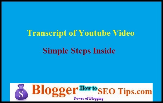 Youtube Video Transcript, Video Transcript
