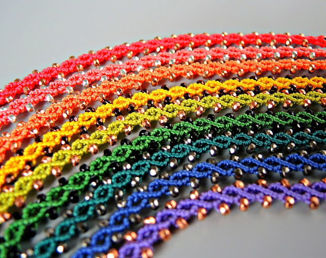 Micro Macrame bracelets in a rainbow of colors from Sherri Stokey.