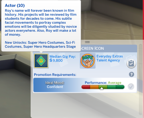 When will my sim be able to get an award in actor career