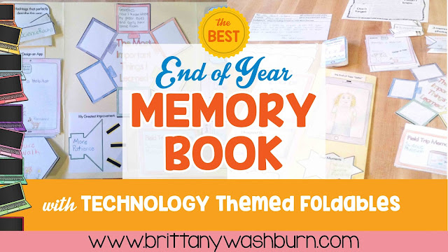 End of Year Memory Book - with a Technology Theme  13 Flip-flap activity pieces with technology themed graphics