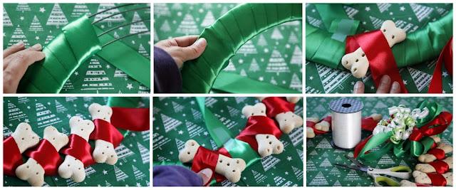 Step-by-step how to make a dog bone treat Christmas wreath