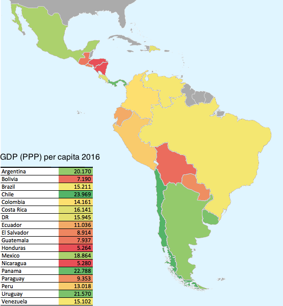 Latin American Countries by GDP (PPP) per capita (2016)