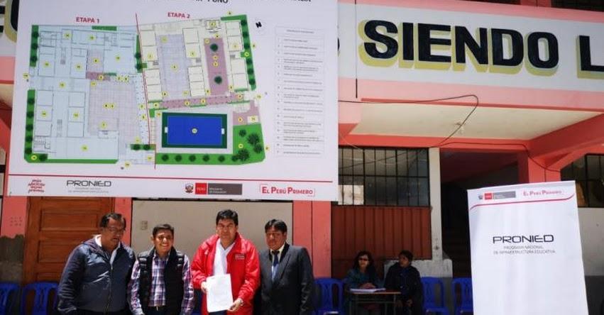 PRONIED entregó terreno para la ejecución del saldo de obra del colegio Emblemático Nuestra Señora de Alta Gracia de Ayaviri - www.pronied.gob.pe