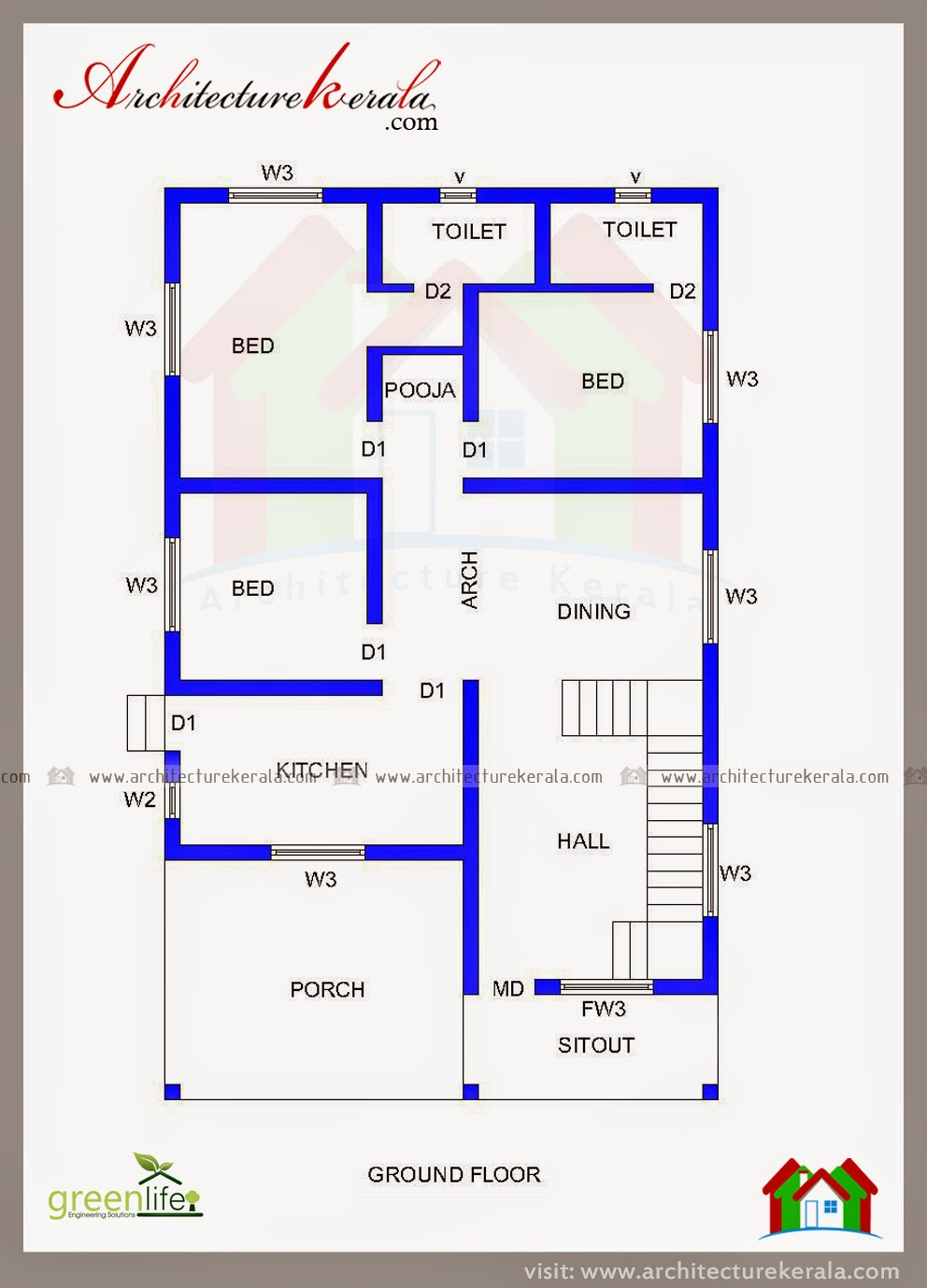 THREE BEDROOM HOUSE PLAN AND BEAUTIFUL ELEVATION