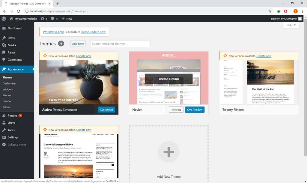 WordPress activate new theme