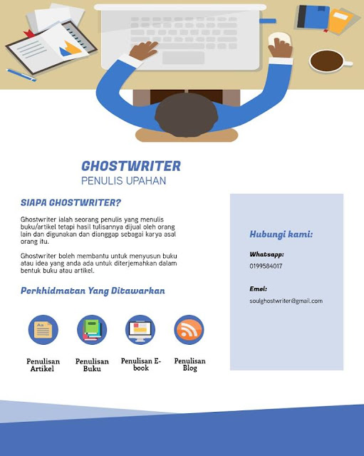 Penulis Upahan Atau Ghostwriter, Penulisan Artikel, Blog, Ebook, Buku, Khidmat Ghostwriter,
