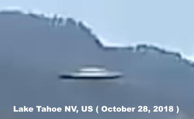 Hình ảnh phóng to của UFO hình đĩa bay bị bắt gặp ở hồ Tahoe, bang Nevada, Mỹ.(Ảnh qua twitter.com)