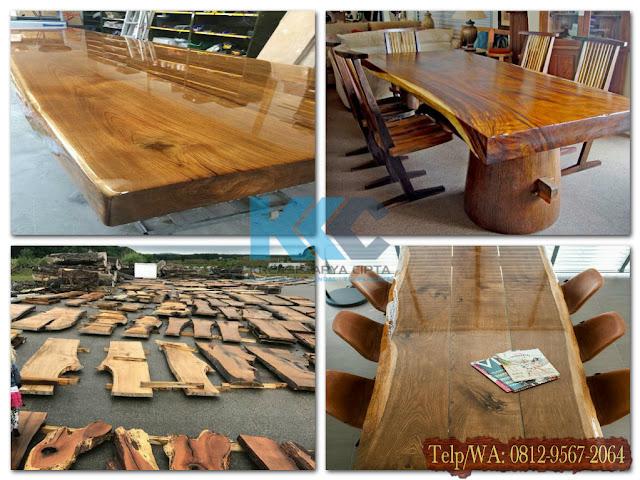 meja dan kursi makan kayu jati