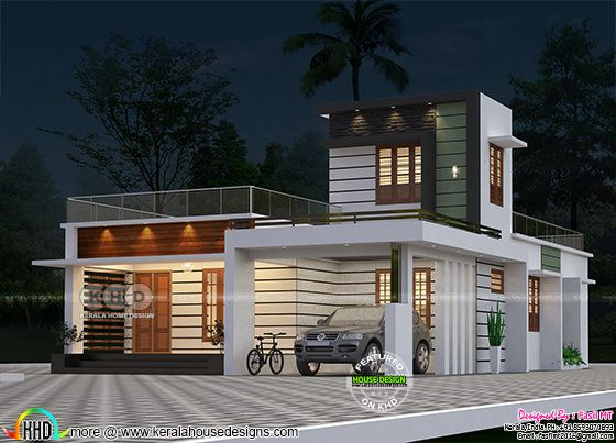 2 bedroom modern house view in night view rendering