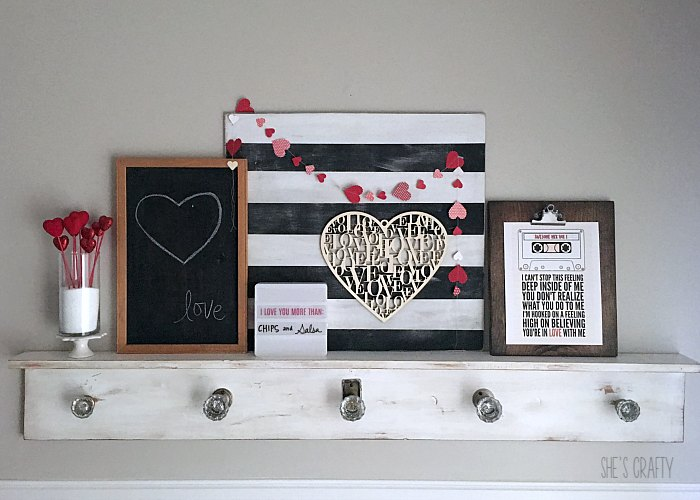 valentines day mantel, black and white strips, printables, chalkboard, hearts