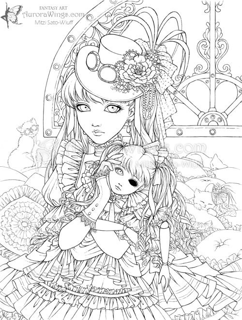steampunk girl coloring pages - photo#2