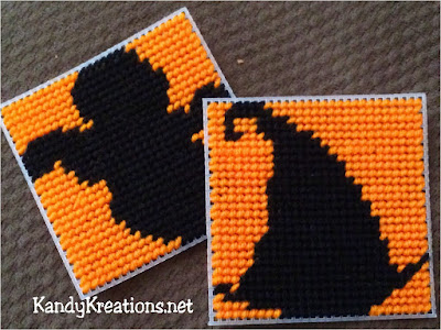 Decorate your home with these easy to sew plastic canvas Halloween coasters.  This simple and free plastic canvas pattern has 2 Halloween silhouettes and 2 Halloween designs to decorate your Halloween party or table scape in fun orange and black designs.
