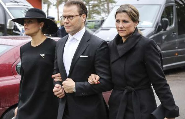 Queen Silvia, Crown Princess Victoria, Princess Benedikte, Princess Sofia and Princess Martha Louise attended the funeral of Baron Niclas Silfverschiöl at Erska Church