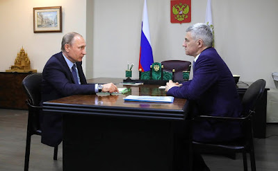 Vladimir Putin with Acting Head of the Republic of Karelia Artur Parfenchikov.